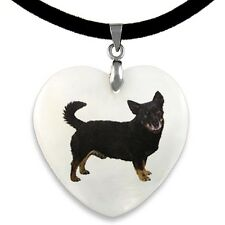 Lancashire Heeler Dog Natural Mother Of Pearl Heart Pendant Necklace Chain Pp185