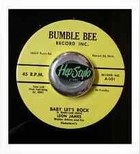 LEON JAMES 45 RE -BABY LET'S ROCK- SUPER RARE ROCKABILLY BUMBLE BEE 1958