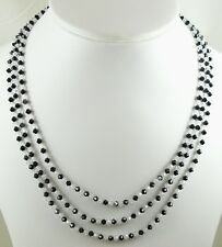 Black & Clear Czech Crystal Triple Strand  Necklace with Silver Clasp