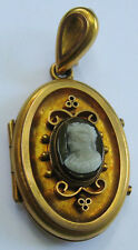 ANTIQUE VICTORIAN ERA 10K GOLD CAMEO LOCKET PENDANT
