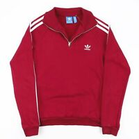 ADIDAS Burgundy Embroidered Logo 1/4 Zip Sports Sweatshirt Size Womens Small