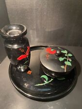VINTAGE BEMBO OKINAWA LACQUERWARE JAPAN JAPANESE LACQUER HIBISCUS MOTIF FLOWER
