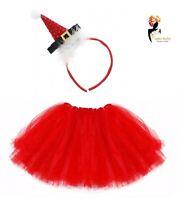 SANTA TUTU COSTUME Kids Ladies Fancy Dress Christmas Party Xmas Fancy Skirt Hat