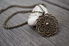 Bronze Filigree Flower Mandala Dangle Necklace, Boho, Etnic, Oriental, Festival