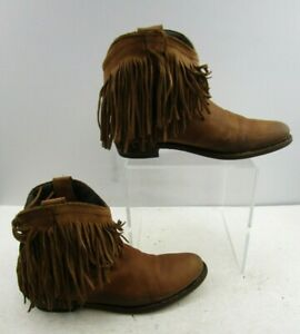 Ladies Brown Leather Suede With Fringe Detail Booties Size : 9