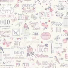 2 Rolls of Vintage Shabby Chic Girls Quote Wallpaper Pink Lilac Purple 216707