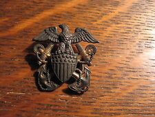 USN Officer Lapel Pin - Vintage Gold Sterling United States Navy H-H Eagle Badge