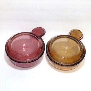 Vintage Vision Corning Ware Grab It Bowls w/ Lids V-150-B Amber & Cranberry Lot