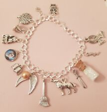 Harry Potter Theme Silver Plated Charm Bracelet with Potion Bottle Scarf Book