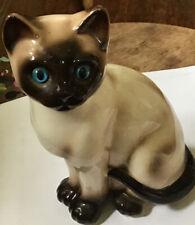 "Vintage Enesco Ceramic SIAMESE CAT Figurine 7"" ~ Kitten ~Blue Eyes~facing right"