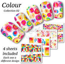 4x Full Cover Nail Art Water Stickers Wraps Transfers Elmer Ink Glass Z206