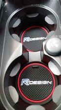 RED VOLVO R DESIGN CUP HOLDER ANTI-SLIP MAT CAR BADGE XC90 V90 V40 C30 V60 76mm
