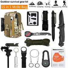 15 in 1 Camping Survival Gear Kit EDC Military Tactical Molle Bag Hiking Hunting