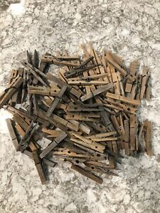 Vintage Wooden Clothespins Spring Loaded Weathered Clothes Pins Mixed Lot of 90