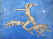 "Art Deco Female Nude Original Painting by Gustav Kaitz Gazelle Dogs ? 20.5""x28"""