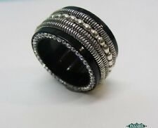 New Sterling Silver CZ And Black Acrylic Swiveling Band Ring