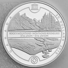 2015 $20 UNESCO at Home and Abroad, Mount Fuji & Canadian Rockies 1 oz. Silver