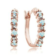 Opal & Diamond Accent Hoop Earrings Rose Gold Tone over Sterling Silver White