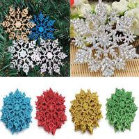 12Pcs 10 CM Plastic Glitter Snowflakes Christmas Xmas Tree Decorations Ornaments