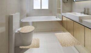 3PCS NON SLIP BATH MAT SET SUPER SOFT PEDESTAL AND BATH RUG ROCK