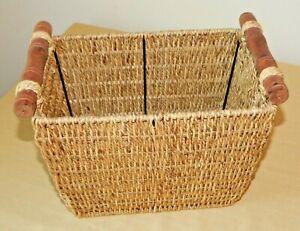 Brown Wicker Rectangular Magazine Sewing Storage Box with Handles Excellent Cond