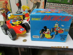 DONALD DUCK DISNEY RACING CAR IN BOX FRICTION 60s MT JAPAN WORKS NEAR MINT