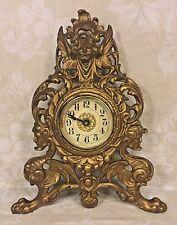 Antique Gilt Metal Shelf Clock Gargoyle Base w/ Winged Cherub Crest Time Only Ru