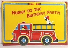 VTG Hallmark Firetruck Fireman Birthday Party Invitations, 8 Count, Red, Yellow
