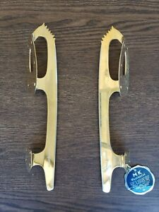 Vintage Unsharpened Ice Skating Blades - MK Gold Star (Gold, SIZE 8 1/3)