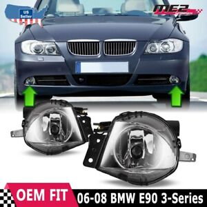 For BMW 3 Series E90 06-08 Factory Bumper Replacement Fit Fog Lights Clear Lens