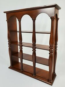 Vintage Wood Wall Tea Cup Curio Display Shelf Walnut