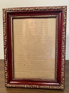 """Picture/Photo Frame 5"""" x 7"""" Burgundy with Gold Design Trim Outside & Inside Edge"""