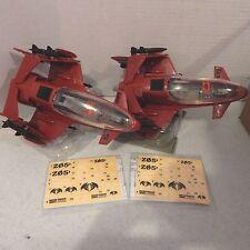 GI JOE ~ TWO 2008  FIREBAT JETS ~ 100% complete & UNUSED STICKERS ~TROOP BUILDER