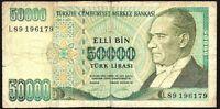 1995 Turkey 50000 Lira Banknote * L89 196179 * GOOD * P-204 *