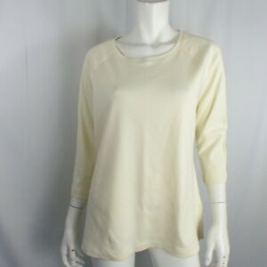 Isaac Mizrahi Essentials Raglan Tee 3/4 Slvs Cream Medium A367690
