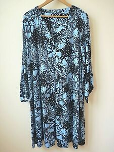 New Women Black+Blue Abstract Button Front Jersey Smock TunicDress PlusSize18-32