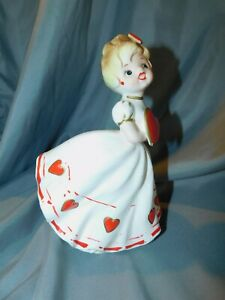 Vintage HEART GIRL PLANTER WITH COLD PAINT MADE IN JAPAN #1414 FLOWING DRESS