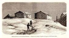 Antique print Mont Rose Dolfus station Col de Saint Theodule 1870