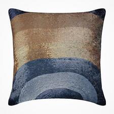 Handmade 20x20 inch Grey Accent Pillow Cover, Silk Sequins - Golden Crest