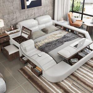 Smart Multifunctional  Modern High Luxury Massage Bed Italian Leather King Size