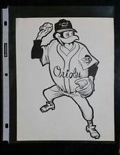 "VINTAGE Baseball Cartoon Team Print BALTIMORE ORIOLES (8"" X 10"") Original Print"