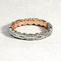 Luxurious Women 925 Silver Ring Bridal Anniversary White Sapphire Jewelry Sz6-10