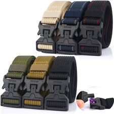 "Mens Heavy Duty Belt 1.5"" Quick Release Plastic Magnetic Buckle Nylon Web Belts"