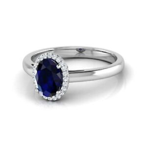 14K White Gold FN 3.00CT Oval Cut Blue Sapphire & Diamond Engagement Halo Ring