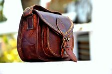 Women Purse Vintage Genuine Brown Leather Cross Body Shoulder Handmade bag