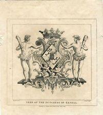 Grabado «Arms of the Dutchess of Kendal» grabdo por T. Cook sobre obra de Hogart