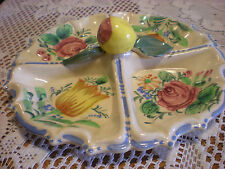 Vintage Cottage Shabby Chic Handcrafted Floral/Fruit Ceramic Dessert Serv Plate