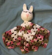 Pink Camo Baby Bunny Lovey Security Blanket Crocheted Handmade Camouflage Toy
