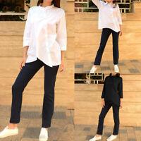 Mode Femme Chemise Coton Asymétrique Boutons Manche Longue Casuel Haut Tops Plus