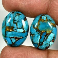 Earring Pair ! Blue Turquoise Oval Cabochon Natural Loose Gemstones 31.40Cts.